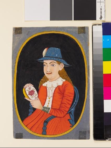 European, probably Dutch, woman holding an enamelled boxfront