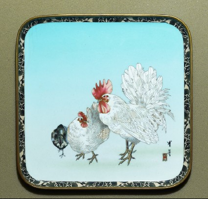 Tray with cockerel, hen, and chicktop