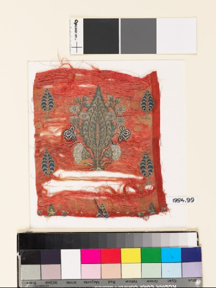 Textile fragment with cypress treesfront