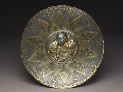 Lobed dish with a Chinese warriortop