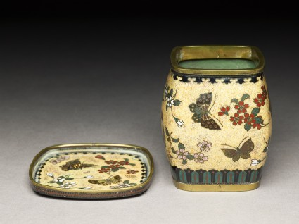 Tobacco jar and stand with butterflies and flowersoblique