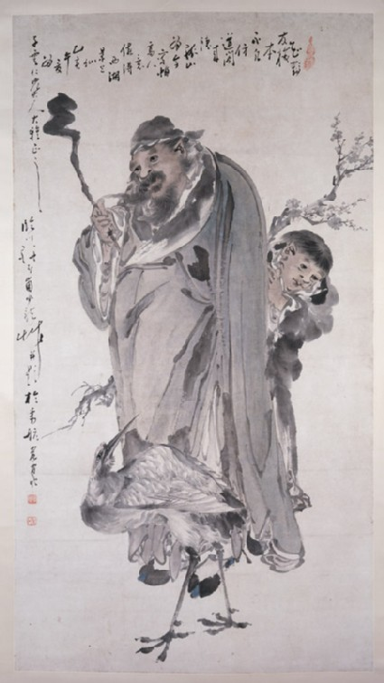 Man and boy with plum blossoms and a cranefront