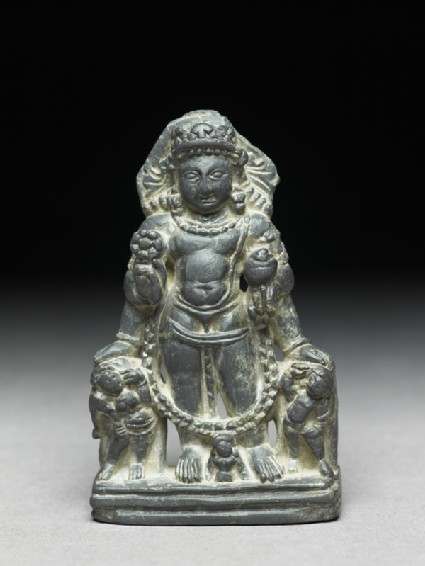 Figure of Vishnu with two attendant figuresfront