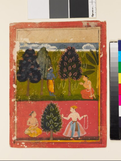 Krishna in a forest, and a king holding a garlandfront