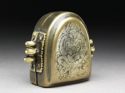 Amulet box with Jambhala, god of plentyside