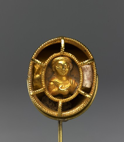 Ring with bust figure holding a wine cuptop