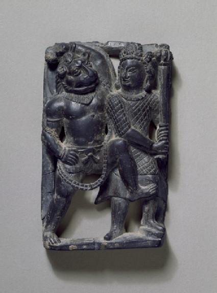 Stone plaque of Narasimha slaying the demon Hiranyakashipufront
