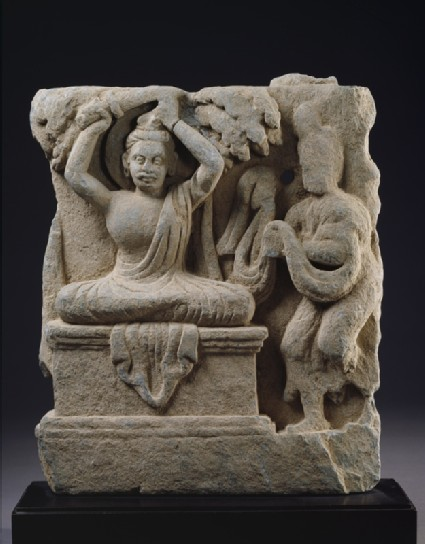 Relief fragment depicting Prince Siddhartha, the future Buddha, cutting his hair in renunciationfront