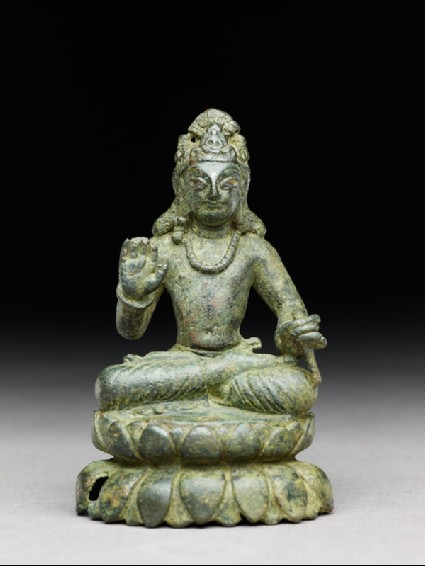 Figure of a seated bodhisattva or Maitreya, the future Buddha, on double lotus petal basefront