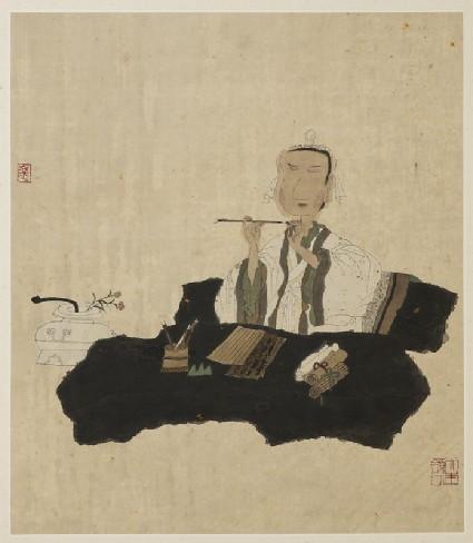 Wang Xianzhi with a writing brushfront