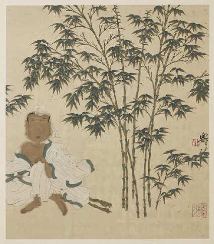 Wang Huizhi sitting under a bamboo treefront