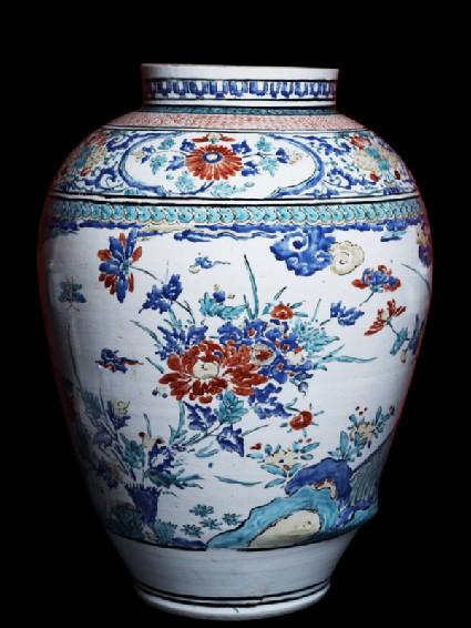 Misshapen baluster jar with flowersside
