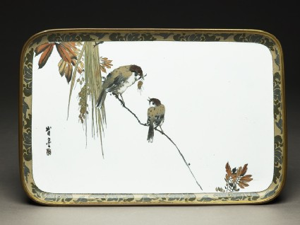 Tray with two sparrows on a branchtop