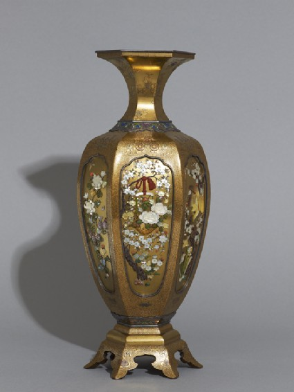 Hexagonal baluster vase with flowers and birdsside