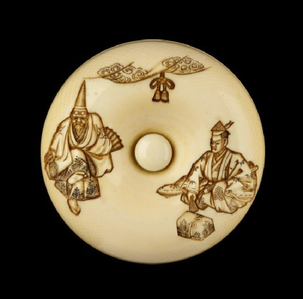 Manjū netsuke depicting characters from the Nō play 'Okina'front