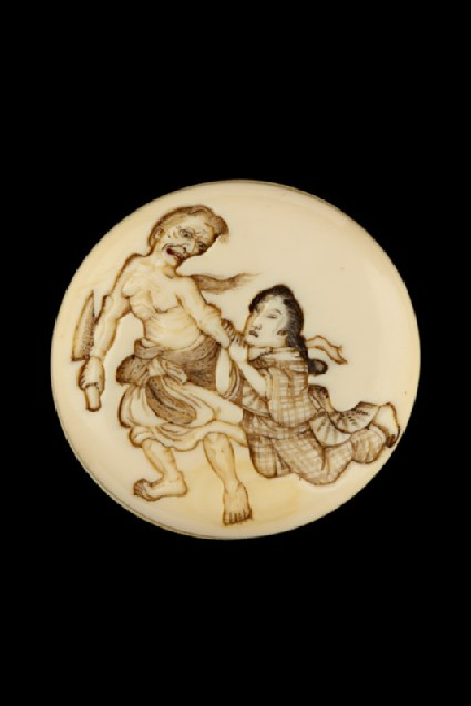 Manjū netsuke depicting the witch of Adachigahara about to attack a young girlfront