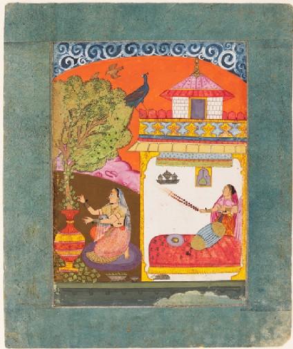 A lady plucking leaves, illustrating the musical mode Gunakali Raginifront