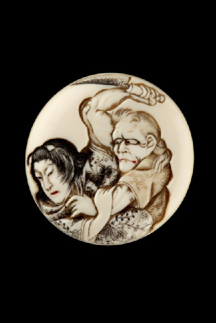 Manjū netsuke depicting the witch of Adachigahara attempting to kill a girlfront