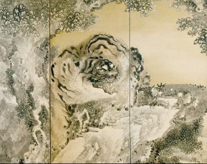 Six-fold screen depicting a roaring tigerfront