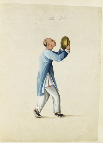 A Man Striking a Small Gong During an Eclipsefront