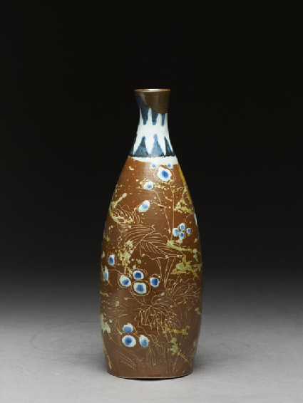 Bottle with butterflies and flowersside
