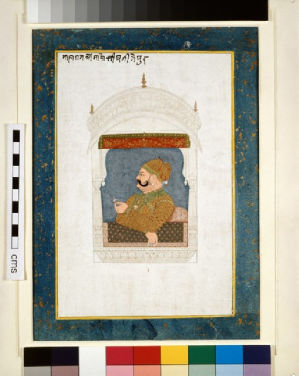 Maharaja Madho Singh at a jharoka balconyfront