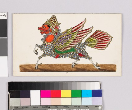 Card with a character from Wayang theatrefront