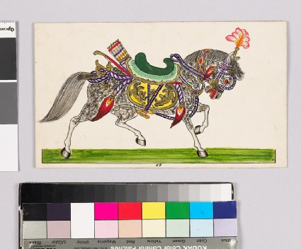 Card with a horse from Wayang theatrefront