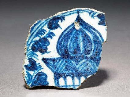 Base fragment of a bowl with part of a buildingtop