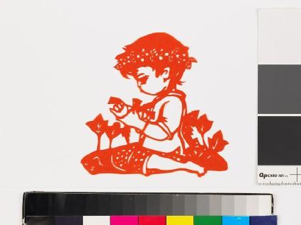 Girl kneeling amid plantsfront