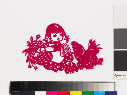 Girl with hen and chicksfront