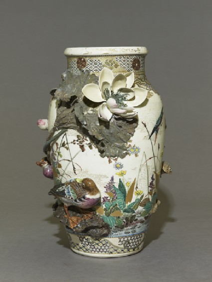 Satsuma style vase with lotus plants and ducksside