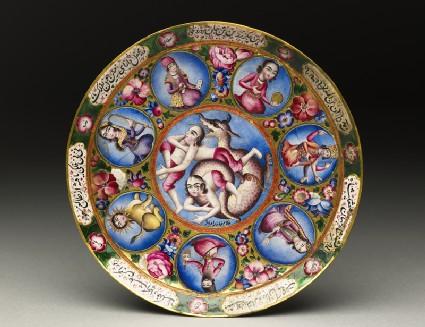 Saucer with astrological decorationtop