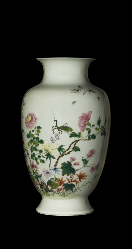 Vase with insects and flowersside