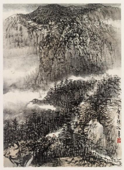 Mountainous landscape with treesfront