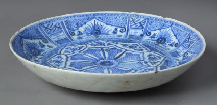 Plate with floral sprays and geometric decorationfront