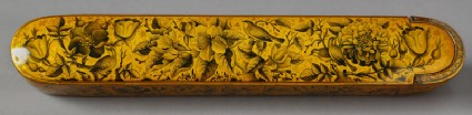 Qalamdan, or pen box, with birds and flowersfront