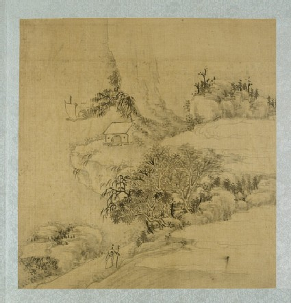 Landscape with a figure holding a walking stick and a boat on the riverfront