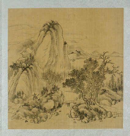 Landscape with a bridge and a figure holding a walking stickfront