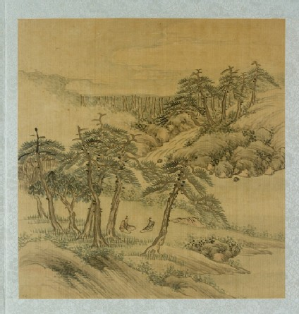 Landscape with two figures sitting under treesfront