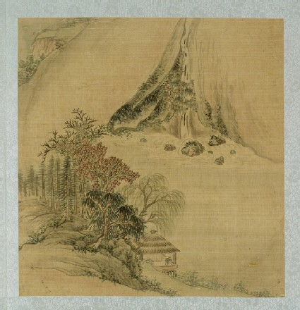 Landscape with a figure in a thatched pavilionfront