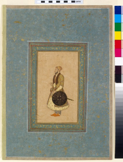 Page from a dispersed muraqqa', or album, with a standing portrait of Prince Kam Bakhshfront