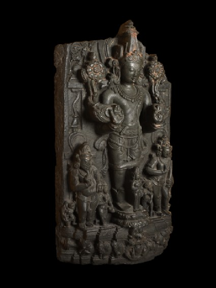 Stele with Surya, the Sun god, and attendantsside