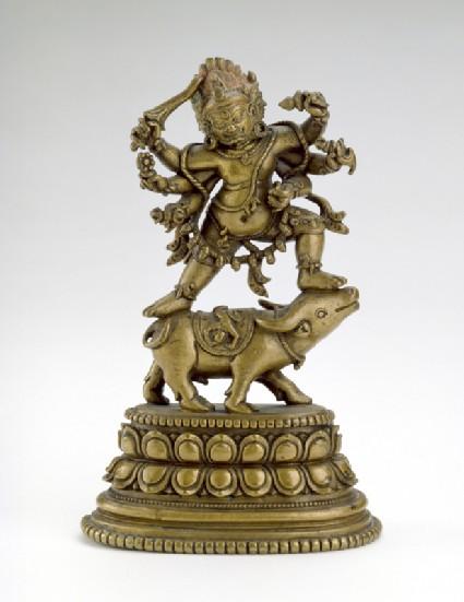 Figure of Yamantaka dancing on a buffalofront