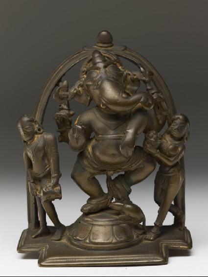 Dancing figure of Ganesha with attendantsfront