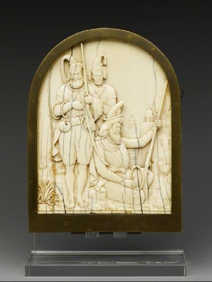 Ivory plaque depicting three Sikh warriorsfront