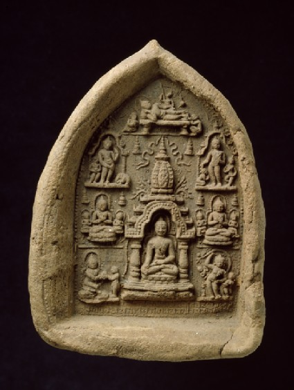 Votive plaque depicting scenes from the Buddha's Lifefront