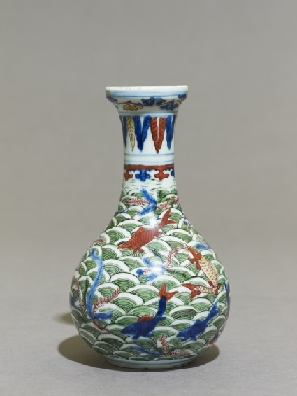 Wucai ware vase with fish amid wavesside