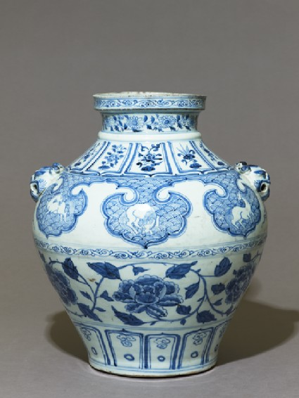 Blue-and-white jar with horses and flowersside