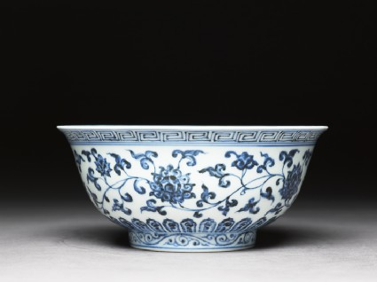 Blue-and-white bowl with lotus scrollsside